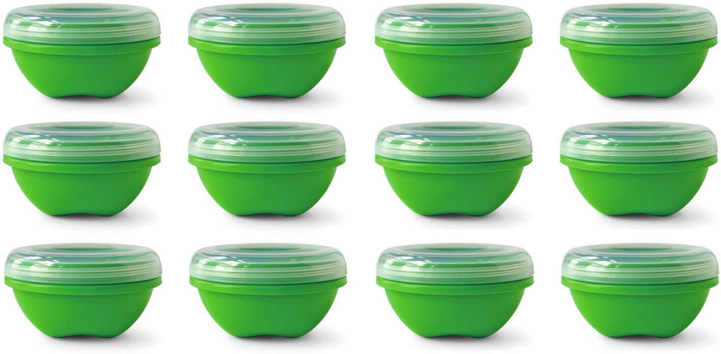 Preserve Reusable BPA Free 19 ounce Small Food Storage Container with Screw Top Lid, Bulk Set of 12, Apple Green