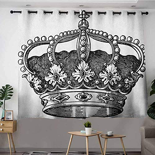 DGGO Simple Curtains,Queen Antique Royal Crown Kingdom Emperor Ruler Czar Symbol Monarchy Authority Icon,Treatment Thermal Insulated Room Darkening,W55x72L Black and White
