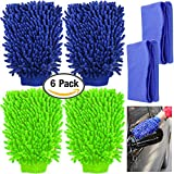 #1: 4 Pack Car Wash Mitts, YuCool Waterproof Microfiber Scratch Free, High Density, Ultra-Soft Washing Gloves,Use Wet or Dry, with 2 Cleaning Clothes- Green, Blue