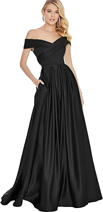 A Line One Shoulder Pleated Satin Wedding Dress Custom Bridal Gown With Pockets