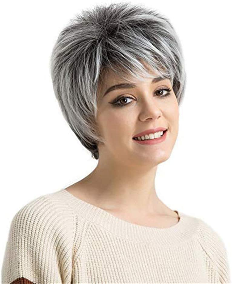"Silver Grey Wigs with Bangs Short Straight Synthetic Hair Wigs for Older Women Daily Use Full Wig + Wig Cap 8"" 80g"