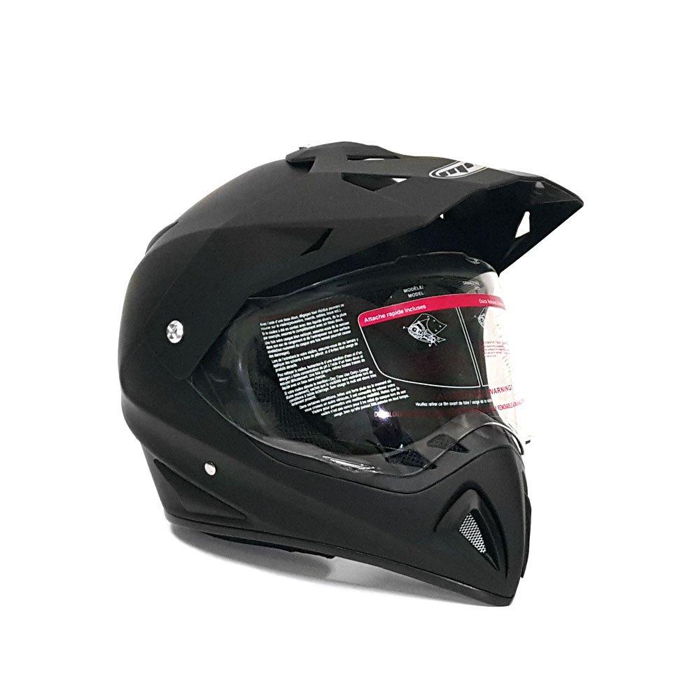 MMG Helmet Dual Sport Off Road Dirt Bike ATV Flip Up Visor 27V Matte Black (XL)