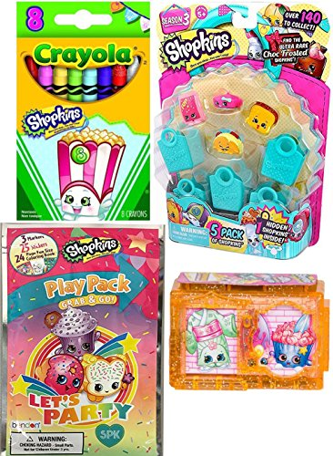 Shopkins Shopping Cart Mini Pack of fun characters + Shimmering Snow Globes Asia & 5-pack Season 3 food figures with Surprise shopkin inside & Crayola Crayons & play pack activity set