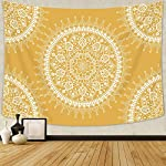 Arfbear Bohemian Tapestry, Mandala Hippie Popular Wall Hanging Tapestry Warm Golden Yellow Beach Blanket