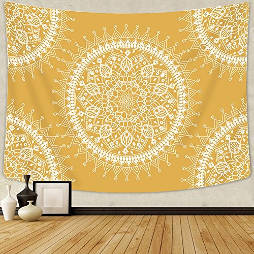 Tapestry Artistic - Arfbear Bohemian Tapestry, Mandala Hippie Popular Wall Hanging Tapestry Warm Golden Orange Beach Blanket (medium-59 x 51 in)