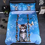 Beddinginn Cute Cat Swing Bedding Set Kids Loves 3d Duvet Cover Set Butterfly Print Girls Bed Set Full