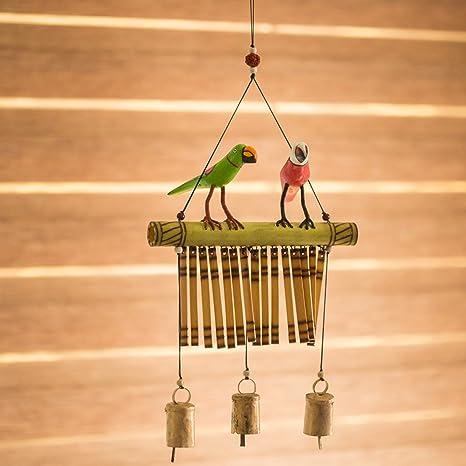 ExclusiveLane Bird Home Decorative Hanging Cum Outdoor Garden Bells Wind Chime (Brown, Wood)