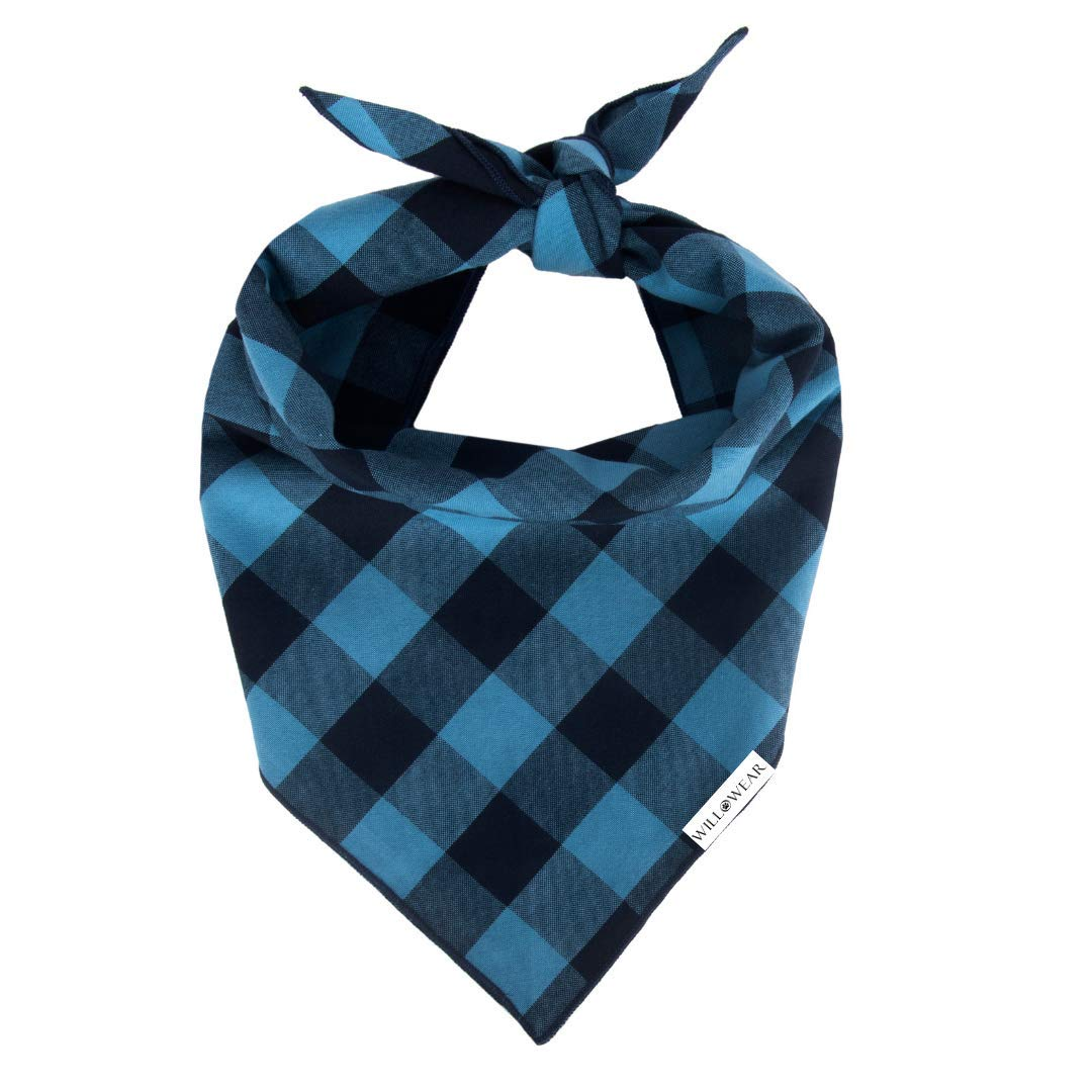 Willowear Dog Bandanas Classic Blue Plaid Large by Willowear