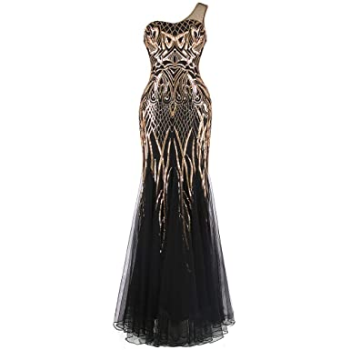 29daffa64ff Spendflower 1920s Gold Owl Sparkle Sequin Pattern One-Shoulder Art Flapper  Deco Column Tulle Gatsby Maxi Evening Prom Gown at Amazon Women s Clothing  store