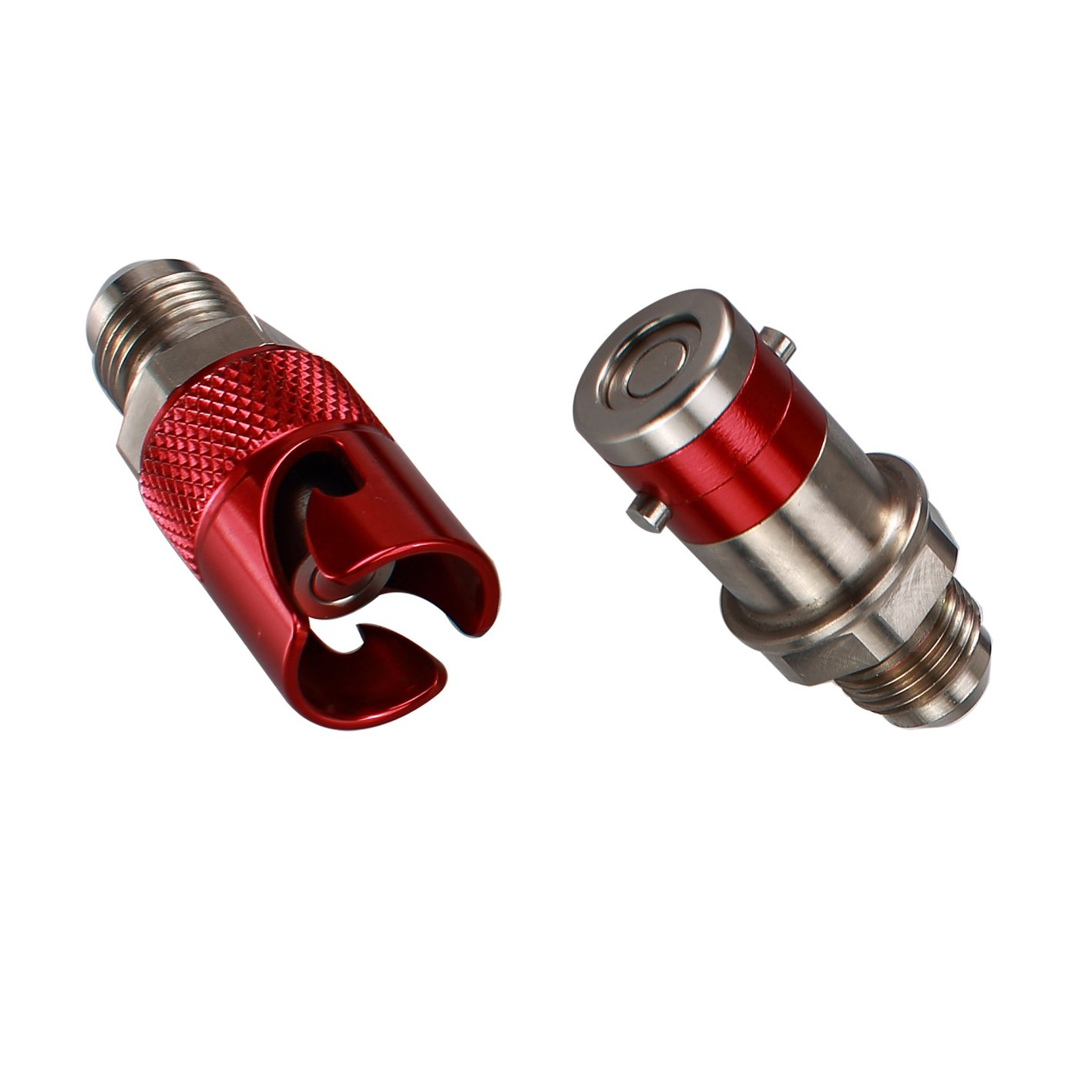 Generic AN-3 (-3 AN JIC 3/8''X24) Titanium Quick Release Disconnect Dry Brake Coupling (Red)