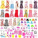 Miunana Lot 123pcs Clothe and Accessories Set, Radom 15 Clothes Party Grown Outfits + 108 Different Doll Accessories for 11.5 Inch Dolls