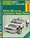 Plymouth Acclaim & Dodge Spirit Automotive Repair Manual/1989 Through 1992
