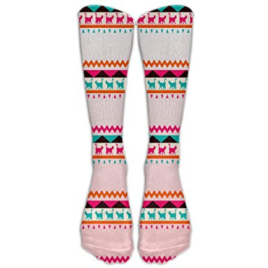 Amazon Sktlin Pink And Green Cat Pattern Classic Knee High