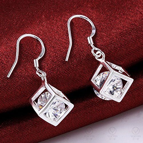 ce4b6991d KOREA-JIAEN Fashion Jewelry Chests S925 Sterling Silver Plated Base Dangle  Earrings (Cube)