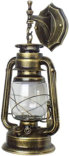 Retro Lantern Wall Fixture Lamp,Light Metal Glass,Suitable for E27 Bulbs,Without Light Bulb Green