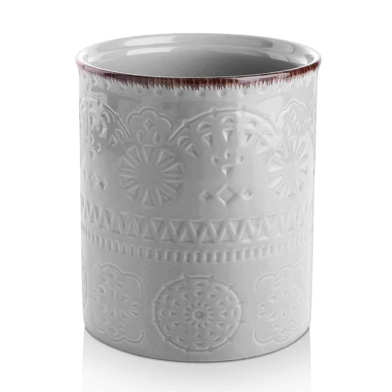 DOWAN Utensil Holder, Ceramic Kitchen Utensil Holder with Cork Mat, Embossed Utensils Holder, Grey