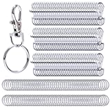 Livder 200 Pieces Metal Swivel Lanyard Snap Hook Lobster Claw Clasp with Key Rings Chain