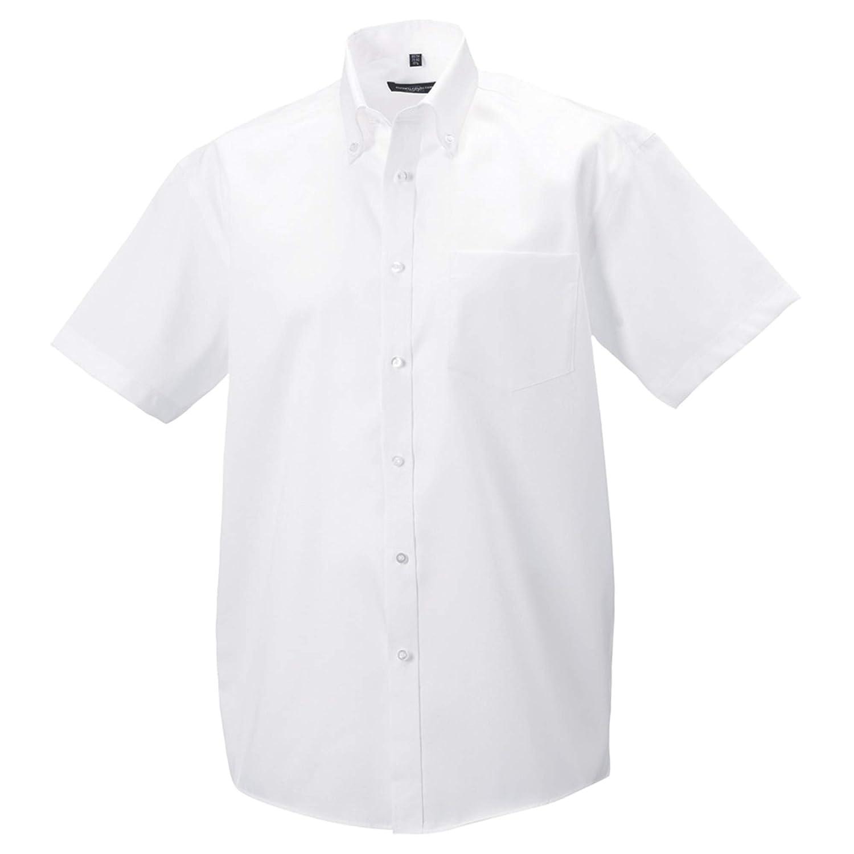 Russell Collection - Camisa de manga corta Diseño Ultimate Modelo Non-Iron Hombre caballero - Trabajo/Boda/Fiesta (Cuello 37cm/Blanco): Amazon.es: Ropa y accesorios