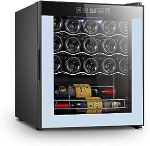 Vaykold Wine Refrigerator 19 Bottle Wine Cooler, Beverage Refrigerator Quiet Operation & LED Light Mini Fridge Glass Door, Wine Cellar for Beer, Red, White, Champagne or Sparkling Wine - Black