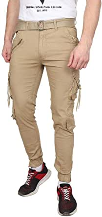 Grok Men's/Boy's Cotton Solid Khaki DORI Cargo Jogger Pants