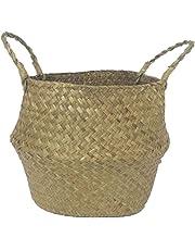 SODIAL Seagrass cesta de cesteria de mimbre plegable colgante maceta de flores maceta sucia de lavanderia cesto de almacenamiento cesta decoracion para el hogar talla M