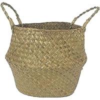 SODIAL Seagrass cesta de cesteria de mimbre plegable