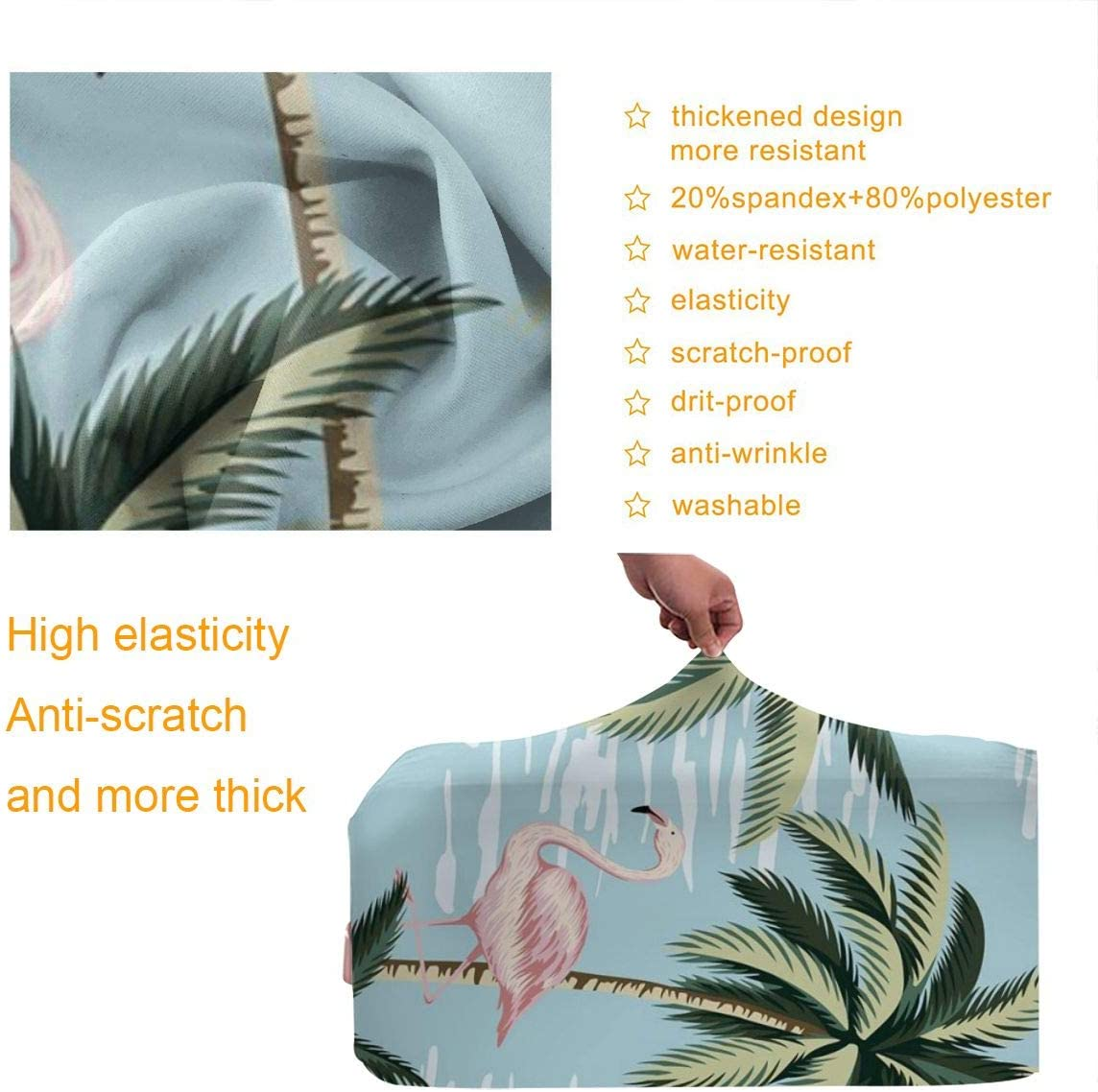 Thickened Luggage Protector Cover High Elastic Spandex Washable Anti-Scratch Travel Suitcase Protective Covers Flamingo Coconut Tree Lake Fits 18 To 32 Inch