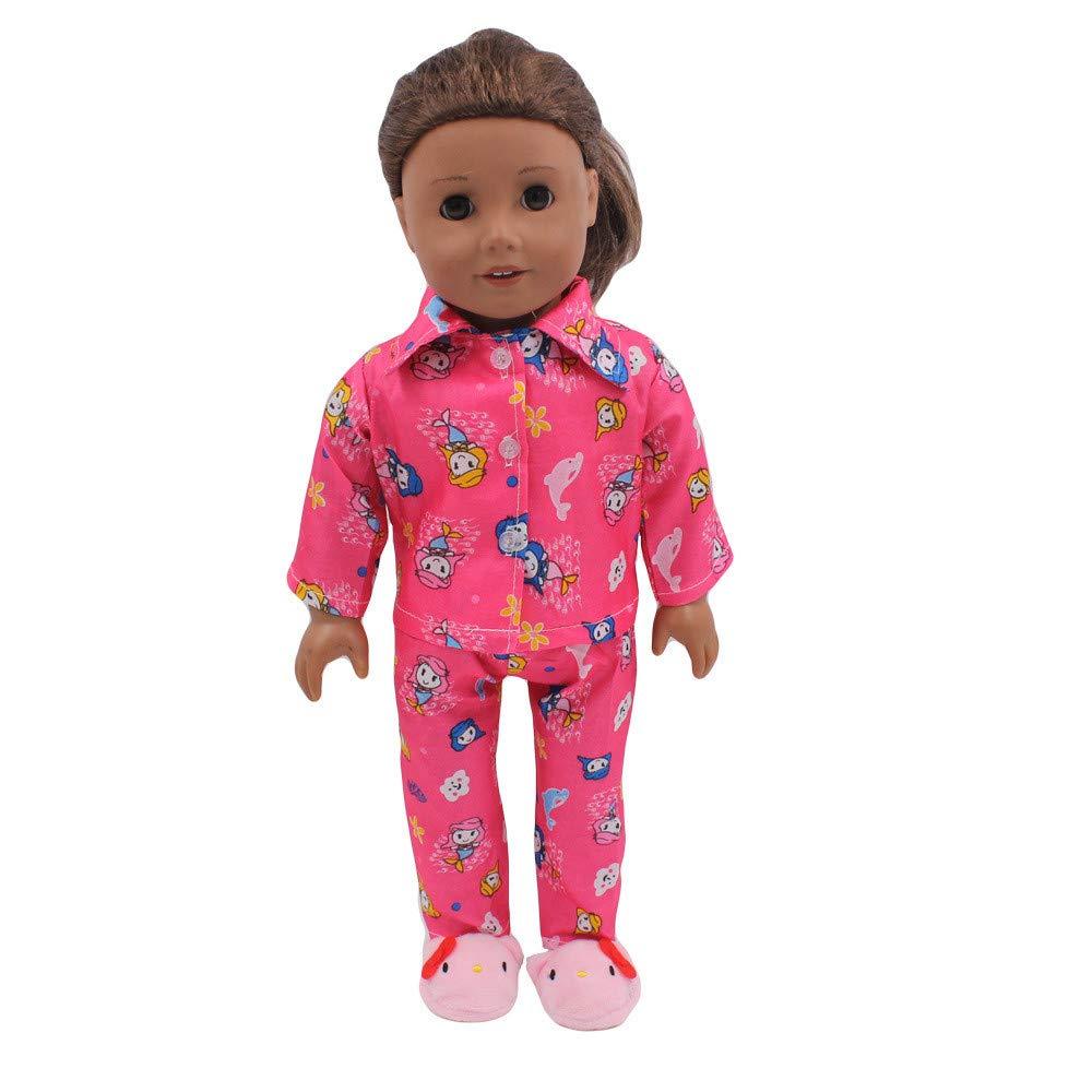 Gbell 18インチ 人形 パジャマ ジャケット トラウザースーツ Our Generation American Girl Doll Clothes 18インチ ベビー 女の子 人形 かわいい 服 アクセサリー 小さな女の子へのギフト <br><br> B07K73FJD2  ホットピンク