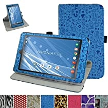 "Insignia NS-P08A7100 Rotating Case,Mama Mouth 360 Degree Rotary Stand With Cute Lovely Pattern Cover For 8"" Insignia Flex NS-P08A7100 Andriod 6.0 Tablet 2016,Blue"