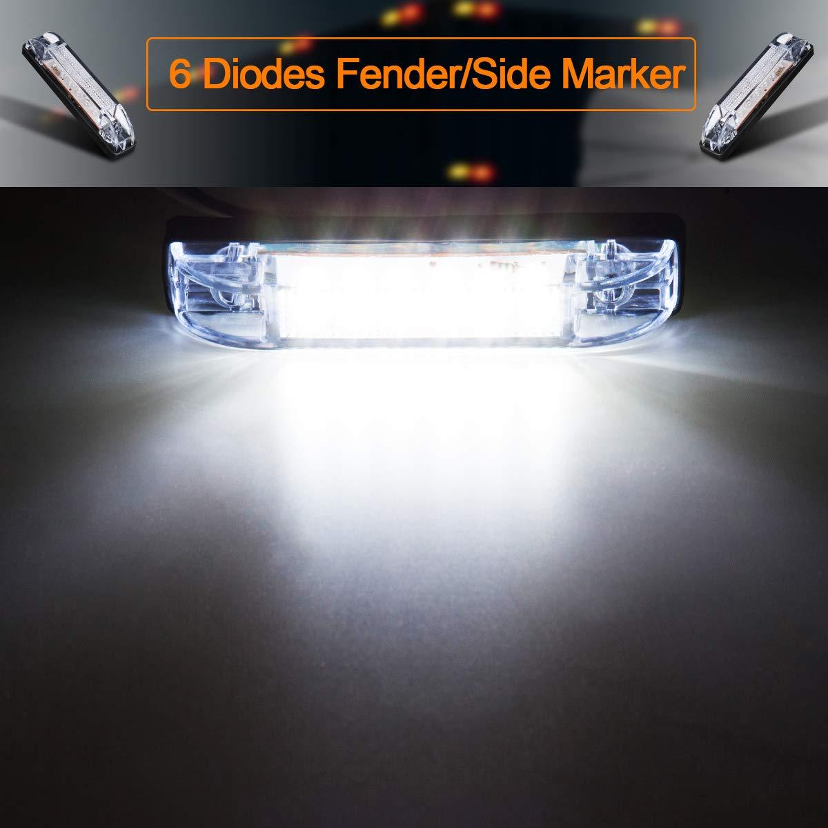 LIMICAR 4PCS White LED Slim Line Utility Strip Marker Light Bar 18 Diodes 12V Assembly Universal Utility Strip Light Boat Marker Light