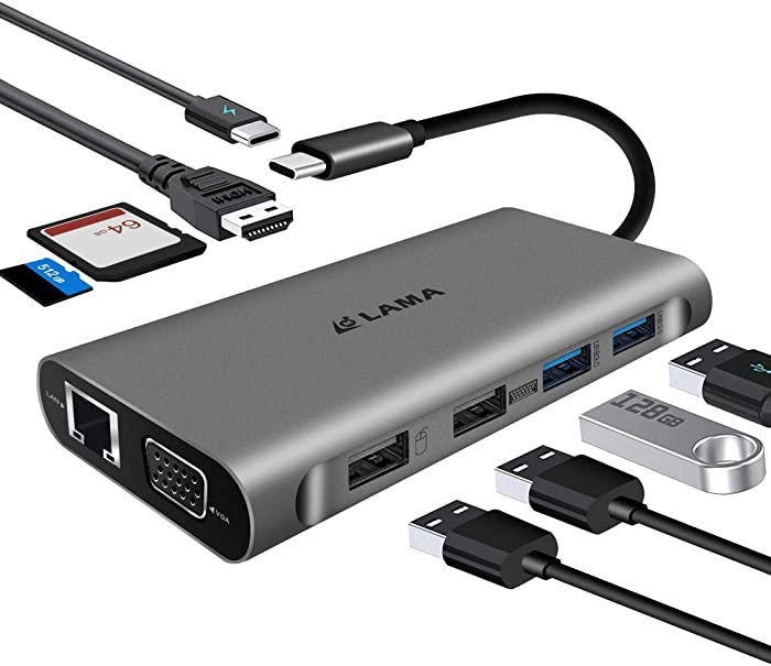 USB C Hub,LAMA 11-in-1 Type C Hub with 4K HDMI,Gigabit Ethernet Port,2 USB 3.0,2 USB 2.0,VGA,Micro SD/TF Card Reader,Audio/Mic,USB-C Pd 3.0,Compatible for Mac Pro and Other Type C Laptops