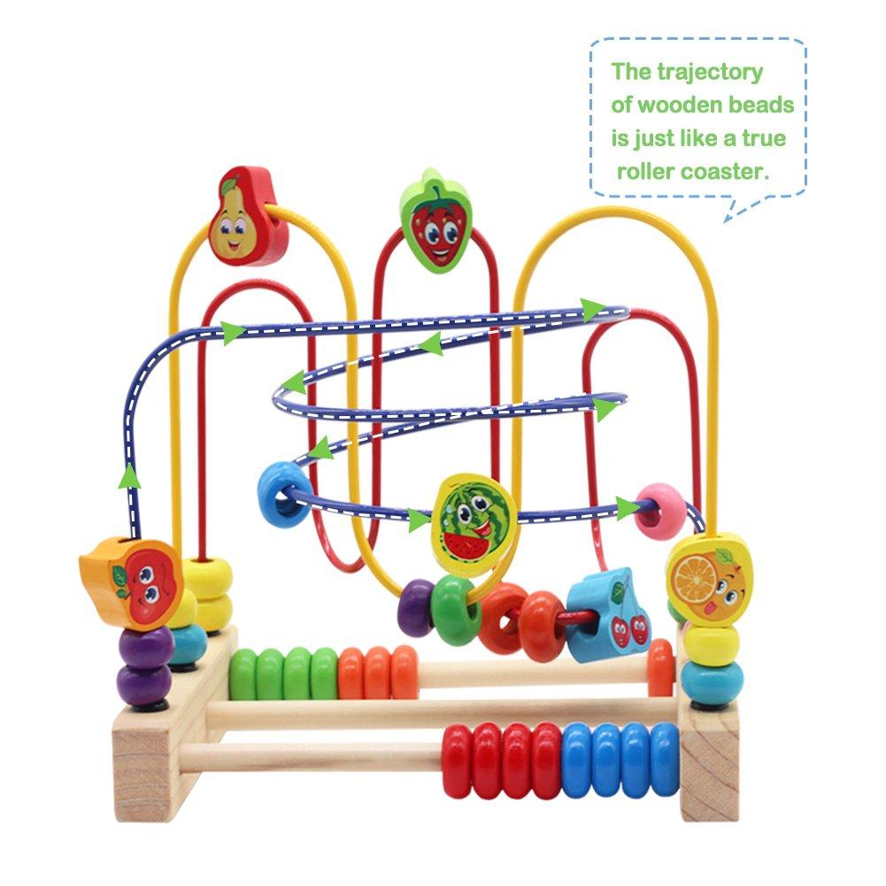 Nuheby Labirinto Roller Coaster con Frutta Bead Maze Gioco Perline Giochi Educativi 3 Anni Giochi in Legno con 3 Tracce di Colore Diverse Giochi in Legno per Bambini 3+ Anni