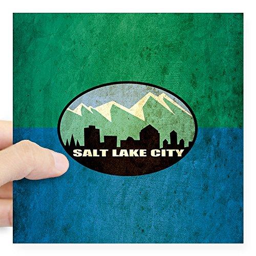 CafePress Vintage Salt Lake City Flag Square Sticker 3 X 3 Square Bumper Sticker Car Decal, 3