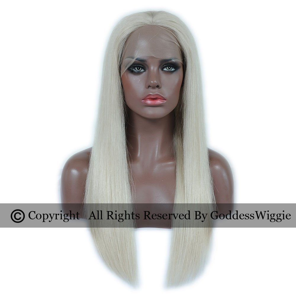 Lightest Blonde Silky Straight Human Hair Wigs Lace Front Remy Blonde Wigs With Baby Hair (20inch 150density)