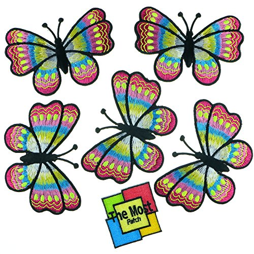 Lot of 6 (5+1) Big Butterfly Colorful Insect Moths Retro Hippie Embroidered Iron/Sew On Patch (Butterfly Embroidered Iron)