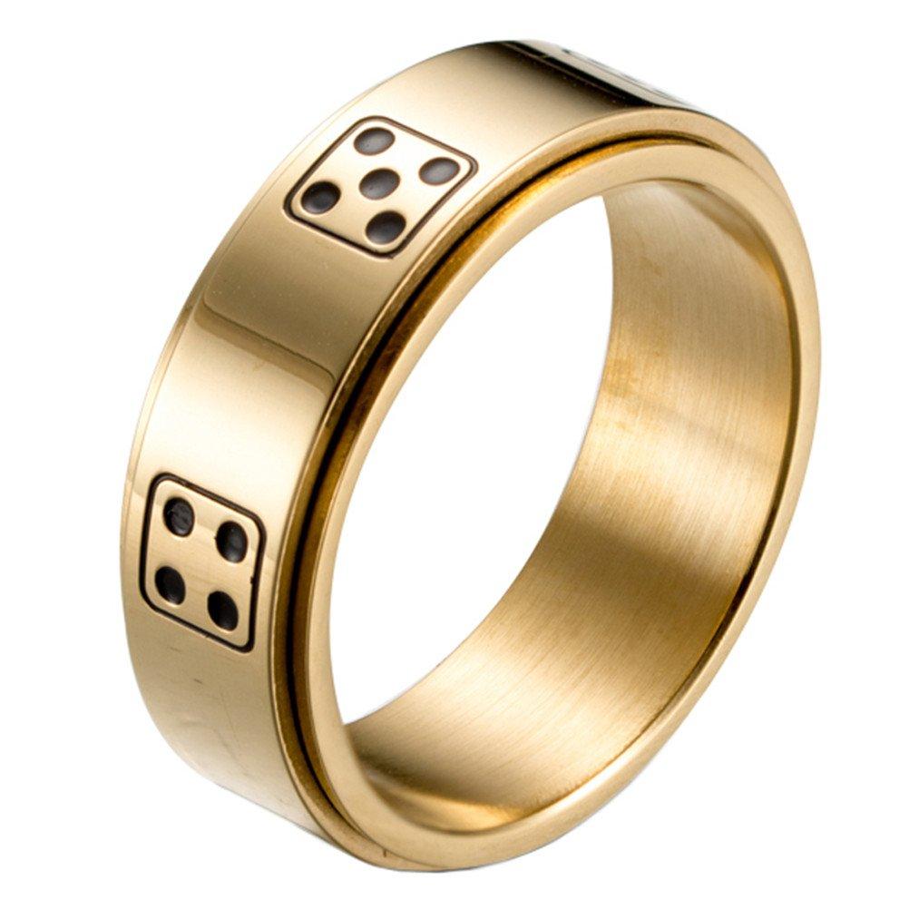 HIJONES Anello Da Uomo In Acciaio Inossidabile Con Lucky Spinner Dice Ring 8Mm Oro Argento Nero hi6170826sy-1