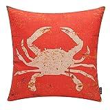TRENDIN Retro Cushion Cover Cotton Linen Throw Pillow Case for Sofa 18 X 18 Inch Square Decorative Zippered Cute Ocean Park Theme Pillowcases Red Crab(PL028TR)