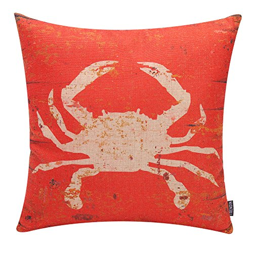 TRENDIN Retro Cushion Cover Cotton Linen Throw Pillow Case for Sofa 18 X 18 Inch Square Decorative Zippered Cute Ocean Park Theme Pillowcases Red Crab(PL028TR)
