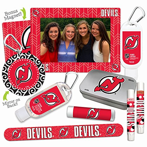 NHL New Jersey Devils Platinum Variety Set- with 2 Lip Shimmers, Lip Balm SPF 15, Nail File, Mirror, Sanitizer, Lotion, Mint Tin, Magnetic Picture Frame. Gifts for Women, by Worthy.