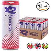 X2 All Natural Healthy Energy Drink: Great Tasting Non-Carbonated Energy Beverage with No Crash or Jitters – Less Sugar, Lower Calories - No Artificial Ingredients - Raspberry - Pack of 12