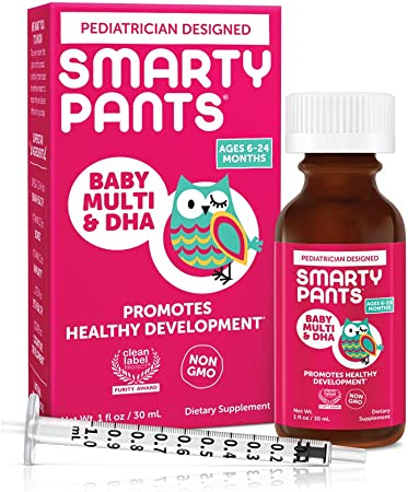 SmartyPants Baby Multi & DHA Liquid Multivitamin: Vitamin C, D3, E, Gluten Free, Choline, Lutein, for Infants 6-24 Months, Immune Support, Includes Syringe, Natural Fruit Flavor (30 Day Supply)