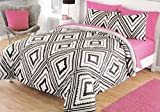 Cheap Comforter Sets Under 30 Dovedote Q Geo Aztec Reverse to Cozy Plush Comforter Set Bed in a Bag, Queen, Black/Gray