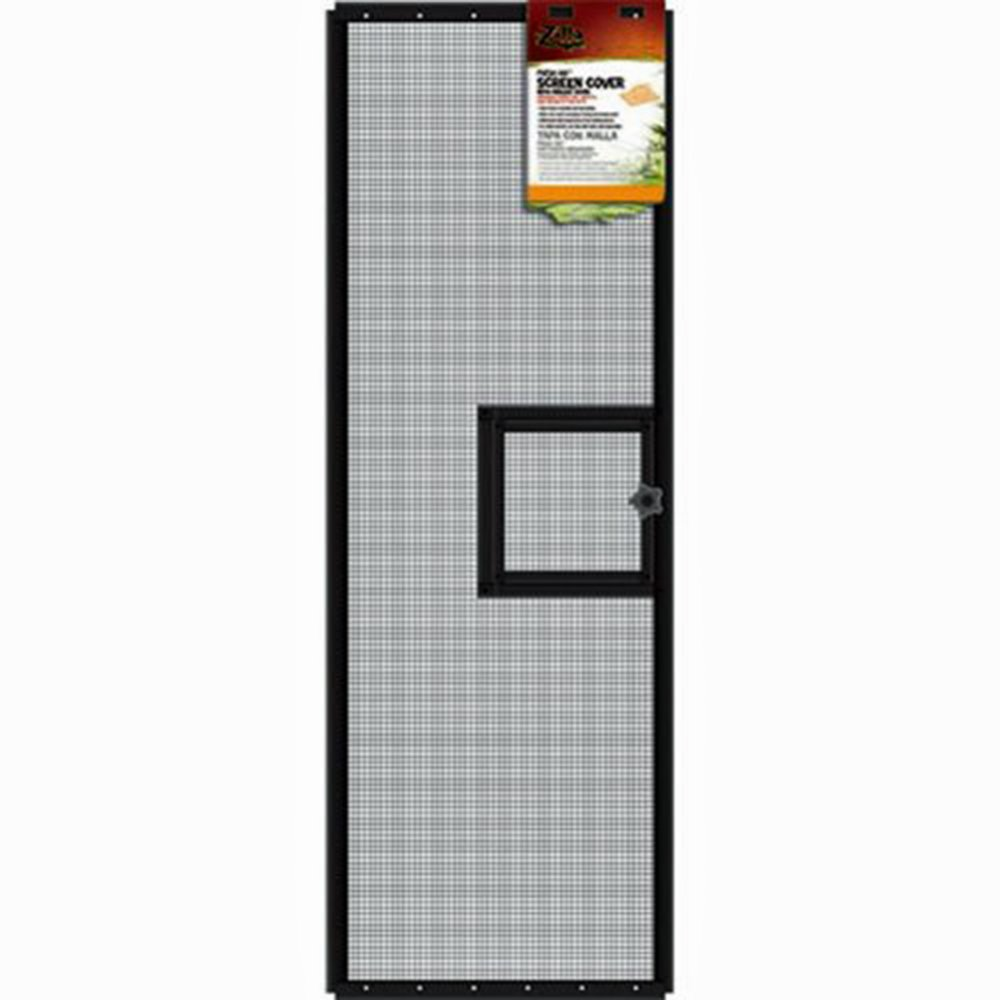 Zilla SRZ100011694 Fresh Air Screen Cover with Hinged Door for Pet Cages, 36-3/8 by 12-3/4-Inch, Black