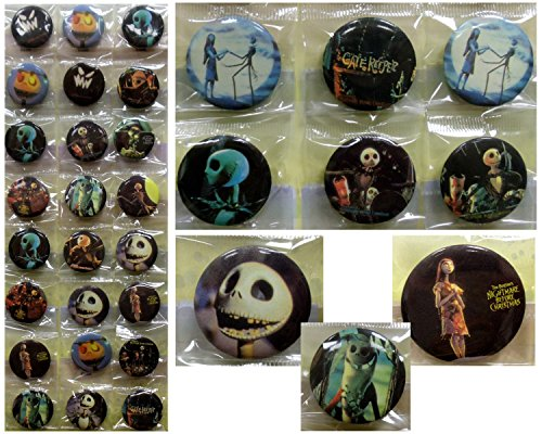 NIGHTMARE BEFORE CHRISTMAS Button Pin Set - Birthday Party Favors - Set of 24 1