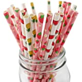 IPALMAY Fruit Patterned Drinking Paper Straws, Disposable Biodegradable, 7.75 Inches, Pack of 100