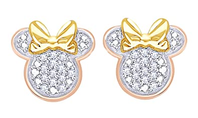 bec825188 Round Cut Real Diamond Minnie Mouse With Bow Stud Earrings In 14K Rose Gold  Over Sterling