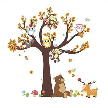Facai Wandtattoo Grosser Baum With Owl Affe Bar Elch Frohliche Tiere