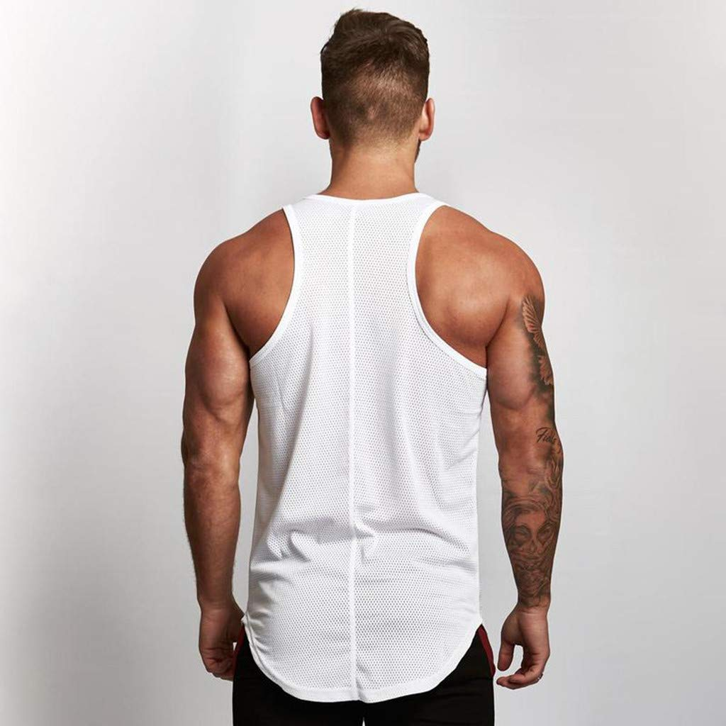 Yomiafy Mens Sleeveless T-Shirt Mesh Breathable Bodybuilding Sport Fitness Tank Top