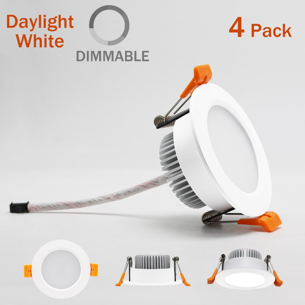 4 Pack 2.56 to 3 inch Dimmable LED Downlight, 110V 5W, 6000K Daylight/Pure White Retrofit Recessed Lighting, CRI 80 with LED Driver, No Can Needed