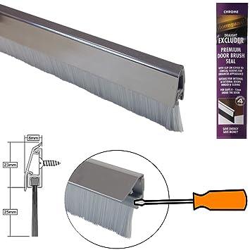 Burlete de cepillo inferior con tapa de fijación oculta y cepillo - cromo de entonado de colores efecto 914mm: Amazon.es: Bricolaje y herramientas
